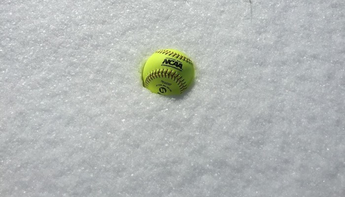 Snow covered softball